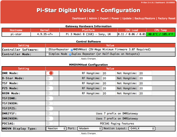 Pi Star Configuration